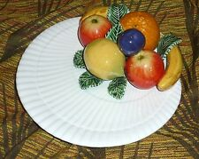 Large Decorative Vintage Porcelain Fruits on Plate Colourful Portugal Retro Chic