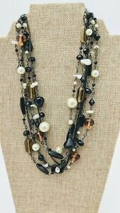 "Lia Sophia, ""Vixen"" Multi Strand Mother of Pearl Necklace Black & Amber Beads"