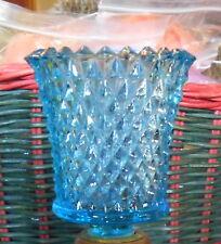 One Aqua Blue Glass Diamond Point, Votive Candle Cup Home Interriors, Sconce,