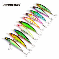 Lot 10pcs 11CM/13.4G Minnow Fishing Lure Crank Bait Hooks Bass Crankbait Tackle