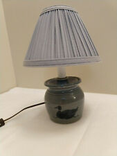 Small Pottery Gray Blue Candlestick Handmade Duck Motif Lamp Clip Pleated Shade