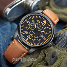 44mm Parnis Luminous Marker Miyota Automatic Men's Pilot Watch Sapphire Crystal
