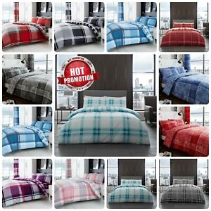 Duvet Cover Set Check Pattern Reversible Bedding & Pillowcases Quilted All Size