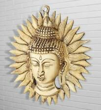 Buddha Wall Hanging Brass Tibet Chinese Buddhism Sun Mask Removable Decor 7""