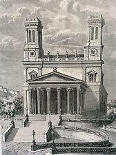 Paris Église Saint-Vincent-de-Paul estampe de 1856
