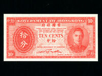 Hong Kong:P-323,10 Cents, 1945 * King George VI * UNC *