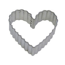 Heart Fluted Tin Cookie Cutter 3.5 IN. B0892 - R&M - Tin Plate Steel