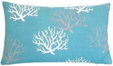 Aqua Blue Coral Decorative Throw Pillow Cover / Cushion Cover 12x20""