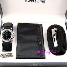 Designer Black Silver Mens Gents Watch, Belt & Wallet Boxed Gift Set Fathers Day