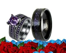 His And Her Wedding Engagement Ring Set Purple Tungsten Cz Black  Matching Bands