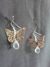 Bead & Silver Plated Wires New E405 Silvertone Butterfly Charm & Clear Teardrop