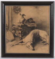 "Max Koner (1854-1900) ""Windhound of Kaiser Wilhelm II"", drawing, 1894"