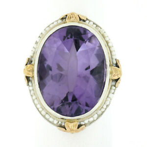 Antique 14k TT Gold 15ctw Amethyst Seed Pearl Halo Floral Filigree Cocktail Ring