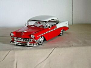 Jada Toys 1/24 1956 CHEVY BEL AIR (Red & White) Wheels by Colorado Customs (996)
