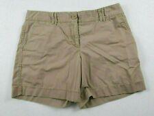 Ann Taylor LOFT Womens Cotton Solid Beige Khaki Chino Dress Shorts Size 8