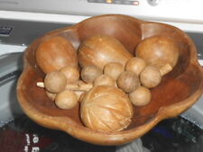 Group of Wooden Fake Display /Decorative Fruit in Matching Bowl