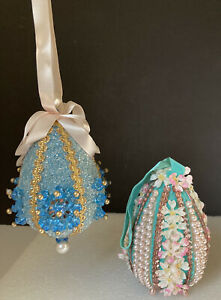 Vintage Hand Made Beaded & Sequin Easter egg Ornaments ~ Lot of 2