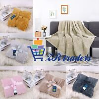Chunky Rib Striped Blankets Soft Warm Sofa Bed Floor Camping Home Warm Throws