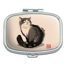 Cat Traditional Chinese Ink Painting Rectangle Pill Case Trinket Gift Box