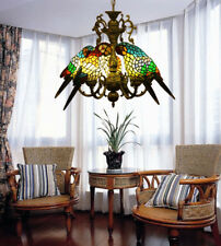 Makernier Vintage Tiffany Style Stained Glass 5 Arms Parrots Chandelier