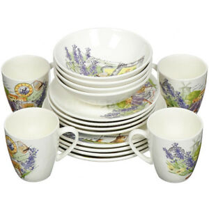 16 Piece Faience Dinnerware Set for 4 persons Lavender Print. Dinner Service Set