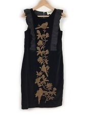 Trelise Cooper Black Velvet Beaded Bird Dress Size 10 Frill Ruffle Floral Womens