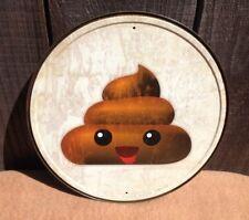 Emoji Poop Round Collectible Tin Metal Sign Rustic Poster Classic Vintage