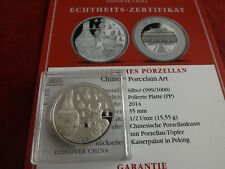 Selten! China*Discover China 2014 1/2 Oz Silber PP*Porcelain Art *Münze/Medaille