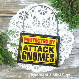 DecoWords Mini Sign PROTECTED BY ATTACK GNOMES Wood Ornament Caution Gag Gift
