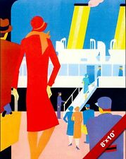 VINTAGE STEAMSHIP CRUISE VACATION TRAVEL AD POSTER ART DECO REAL CANVAS PRINT