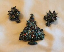 Vintage Green CHRISTMAS TREE & SNOWFLAKE HOLIDAY Brooch Earrings With Glitter!