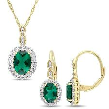 Amour 14k Yellow Gold Created Emerald White Topaz & Dia. Necklace & Earrings Set