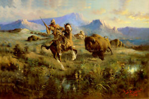 Buffalo Hunt by Edgar Paxson Native American Indians Bison Western Art 12x18 ❤
