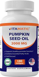 Vitamatic Pumpkin Seed Oil 2000mg Softgel Capsules per serving - 180 Softgels