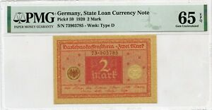 GERMANY 2 MARK 1920 STATE LOAN CURRENCY NOTE PICK 59 VALUE $200