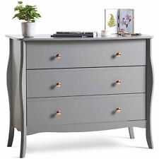 Beautify Grey 3 Drawer Chest of Drawers Vintage Style With Rose Gold Handles