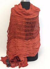 NEW Women/Men's Solid Cotton Linen Scarf Shawl Stole Wrap PASHMINA ,Burnt Orange