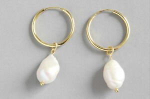 Sterling silver with 18k gold plating natural baroque pearl hoop earrings