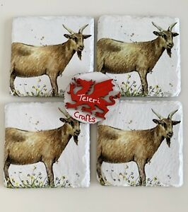 Set 4 Goat Slate Coasters, home decor, country, hand decorated, gift, farm