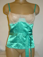 Fredericks of Hollywood aqua blue satin bustier corset lace cups mesh back-32