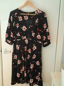 Ossie Clark Black Dress With Pretty Pink / Beige / White Print Size 16