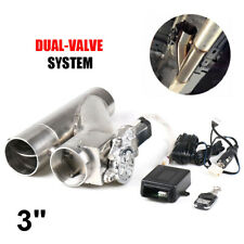 """3"""" 76mm Electric Exhaust Dual Valve Cutout Downpipe Y Pipe + Wireless Remote"""