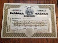 1925 Indiana Mining Company Michigan Stock Certificate MI MICH
