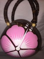 Coconut Purse Bead Handle Painted Pink Flower Lined Zip Closure