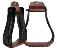 "Showman BLACK Steel Western Stirrups w/ 2"" Leather Tread!! NEW HORSE TACK!!"