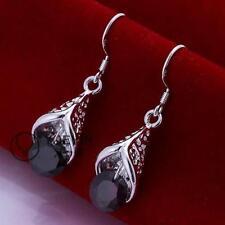 925 Sterling Silver Hook Horned Amethyst Gem CZ Diamante Dangle Earring UK Sell