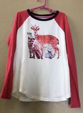 JUICY COUTURE GIRL PINK/IVORY ROUND NECK RAGLAN LONG SLEEVE GRAPHIC TOP SIZE 10
