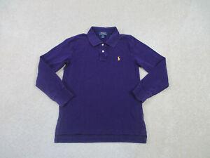 Ralph Lauren Polo Shirt Youth Medium Purple Yellow Pony Long Sleeve Boys Kids