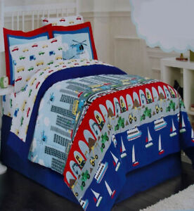 AIR LAND AND SEA CITYSCAPE BLUE FULL COMFORTER SHEETS 8PC BEDDING SET