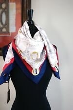 New Authentic Gucci Large White Blue Red Ropes Print  Silk Twill Scarf